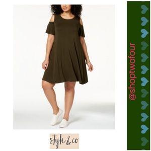Style & Co Plus Flutter-Sleeve Cold-Shoulder Dress